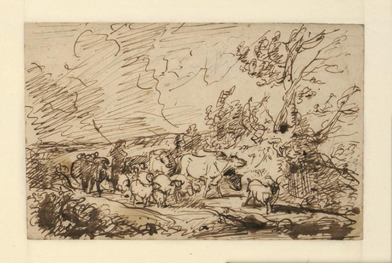 Un Berger suivant son troupeau dans un chemin, près d'un arbre_0
