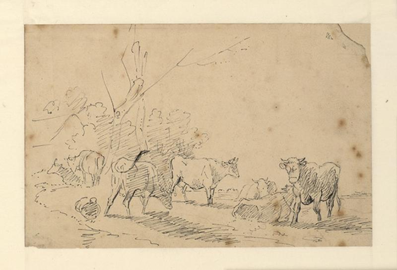 VERBOECKHOVEN Eugène (dit), VERBOECKHOVEN Eugen Joseph (dessinateur) : Vaches dans un pré