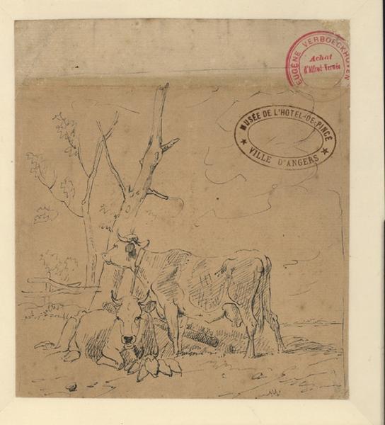 Une vache couchée et une vache debout près d'un arbre_0
