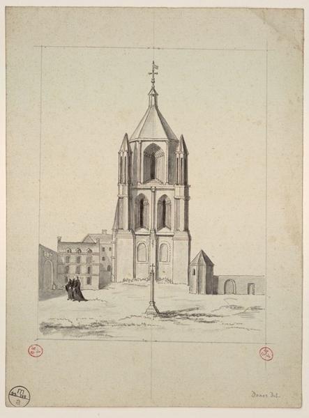 DONAS ROCH Jean-Baptiste (dessinateur) : La tour Saint-Aubin vue depuis l'église abbatiale