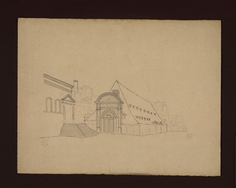 GOUIN André (dessinateur) : Anciennes halles, entrée est du côté du présidial (Titre de C. Labalte)