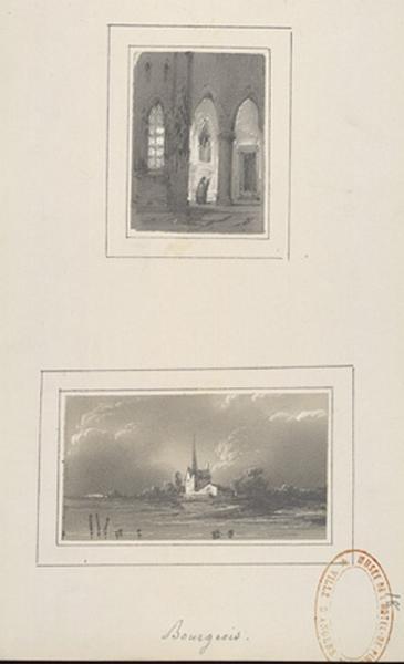 BOURGEOIS Amédée (dessinateur, peintre) : Intérieur d'église, Une église dans un paysage
