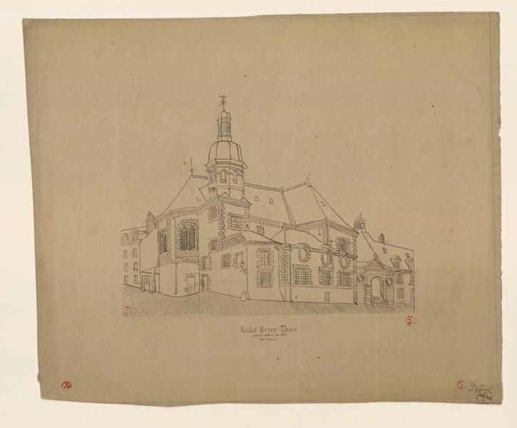 GOUIN André (dessinateur) : Eglise Notre-Dame, chevet démoli en 1898