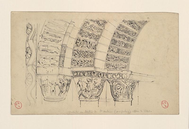 HAWKE Peter (dessinateur) : Détails du cloître de Saint-Aubin (préfecture)