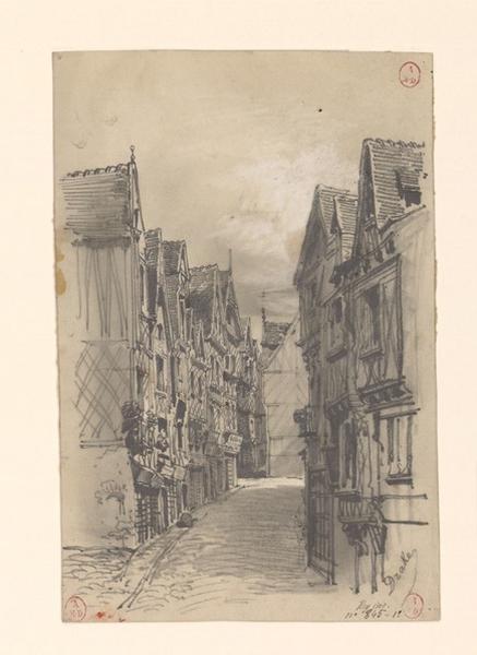 DRAKE Thomas François (dessinateur) : Rue de l'Oisellerie à Angers (Titre de C. Labalte ?)