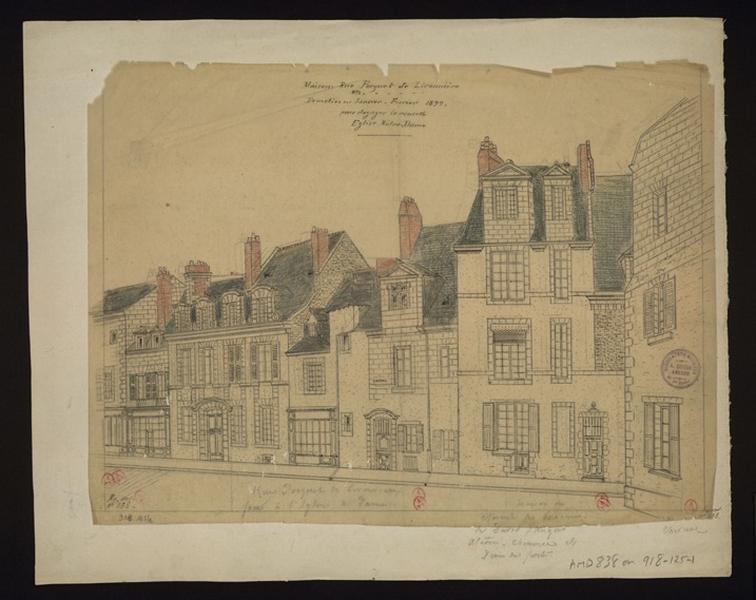 GOUIN André (dessinateur) : Maisons rue Pocquet-de-Livonnière N°... démolies en janvier-février 1899 pour dégager la nouvelle église Notre-Dame