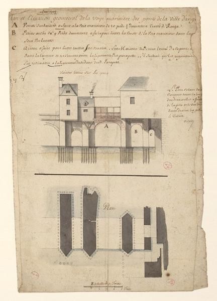 Plan et élévation géométral (sic) de la voye marinière des ponts de la ville d'Angers