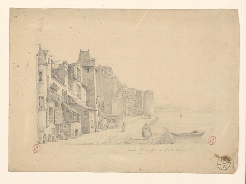 HAWKE Peter (attribué, dessinateur) : Quai d'Angers - Port Ligny