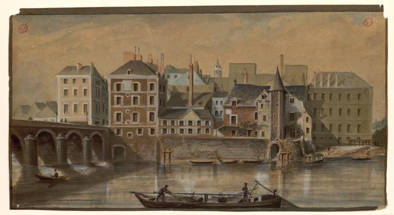 ROHARD Jules (dessinateur) : La rive droite vue de la rive gauche, en amont du pont du Centre (Titre de C. Labalte)