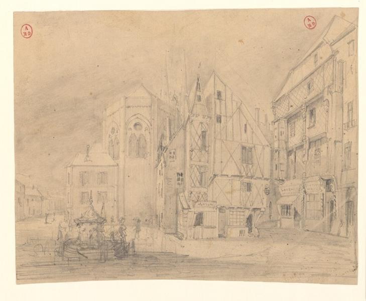 MONTALANT J O (dessinateur) : Place Sainte-Croix en 1839 (Titre de C. Labalte)