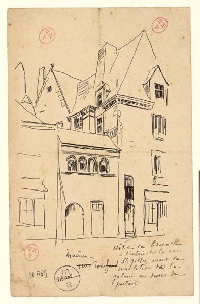 anonyme (dessinateur) : Hôtel de Thévalle à l'entrée de la rue Saint-Gilles avant la démolition de la galerie au-dessus du portail