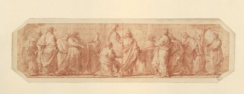 La remise des clés à saint Pierre ; Jésus-Christ remet à saint Pierre les clefs du paradis