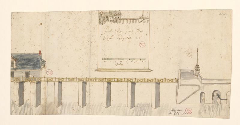 Façade des pons des Treiylle d'Angeres 1717 (sic)
