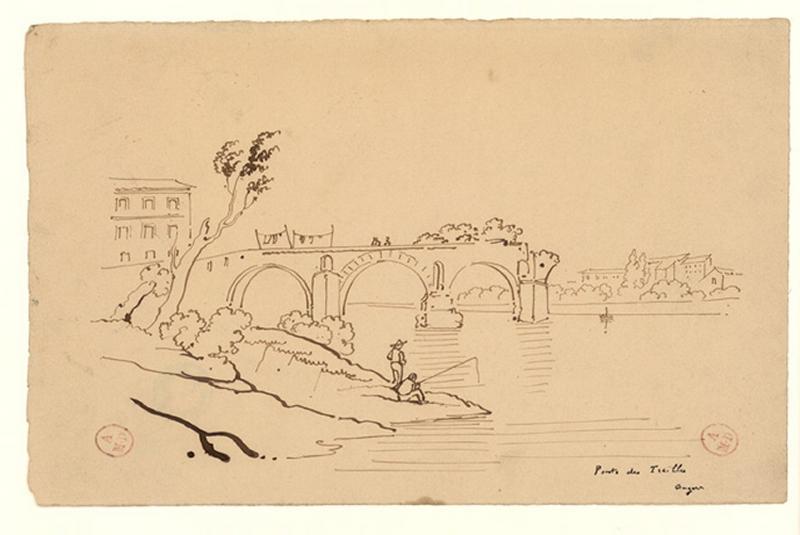 anonyme (dessinateur) : Ponts (sic) des Treilles, Angers