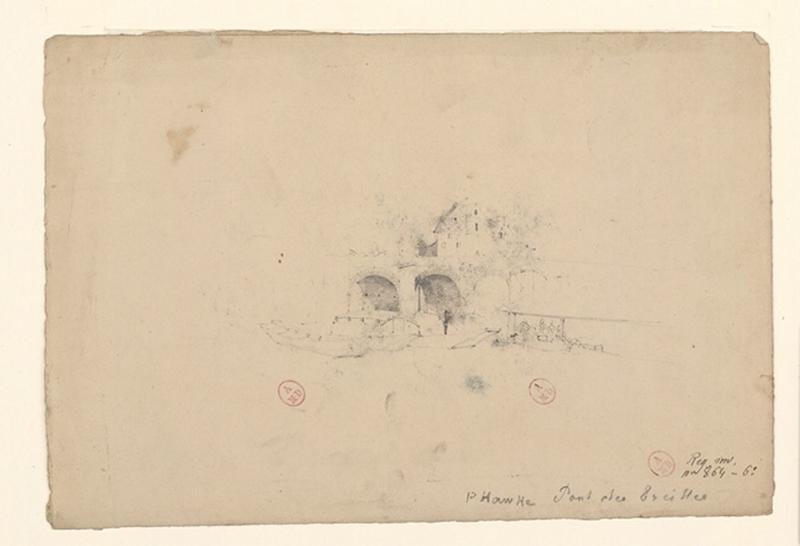 P. Hawke - Pont des Treilles (Au recto) ; Montreuil-Bellay (Au verso)