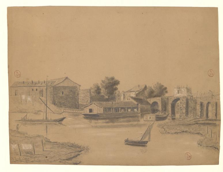 MICHEL Auguste Père (dessinateur) : Pont des Treilles rive droite pris du Rideau côté Doutre