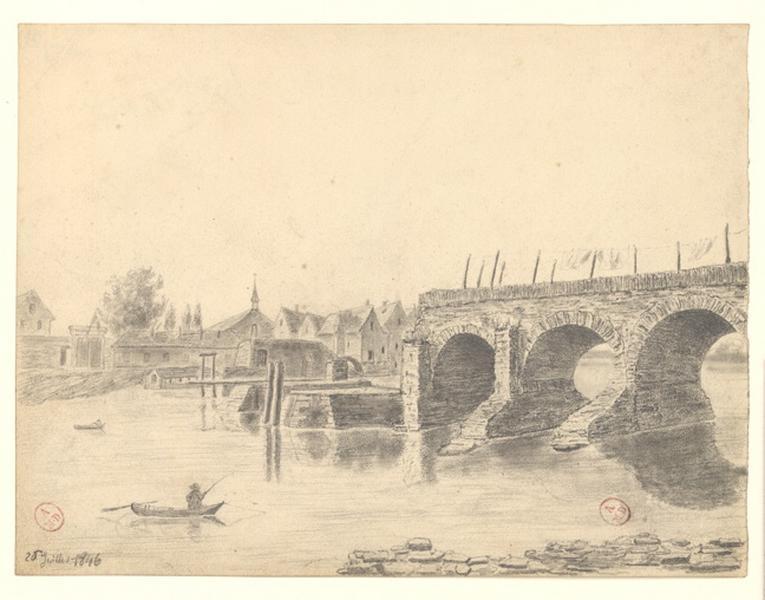 MICHEL Auguste Père (dessinateur) : Pont des Treilles côté de la ville