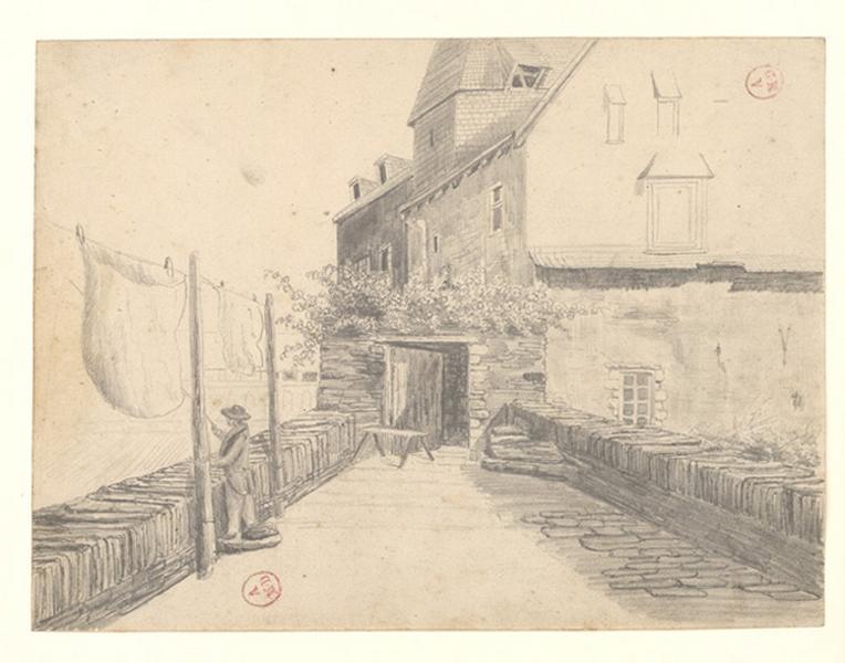 MICHEL Auguste Père (dessinateur) : Intérieur pont des Treilles rive gauche côté de la ville
