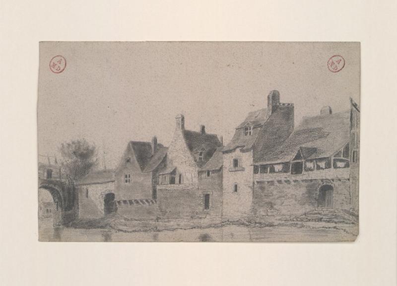 MICHEL Auguste Père (dessinateur) : Quai Saint-Jean et pont des Treilles rive droite