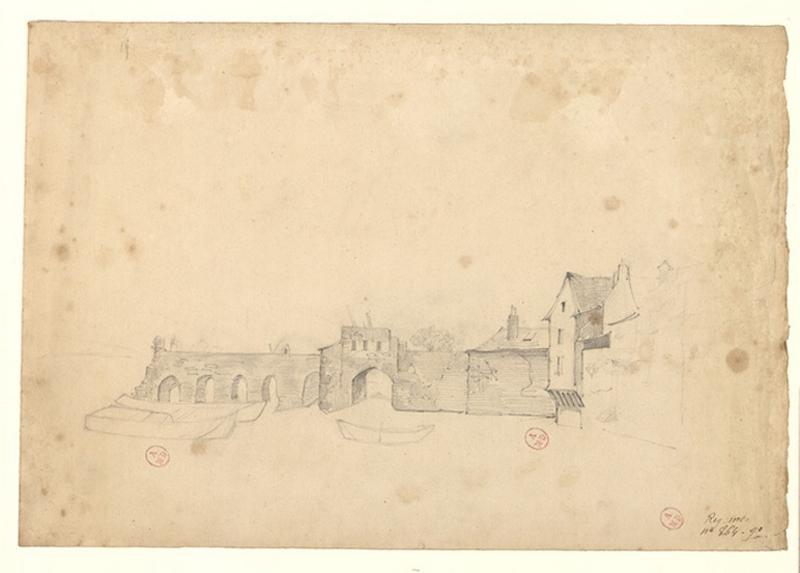 MICHEL Auguste Père (dessinateur) : Pont des Treilles côté de la Doutre