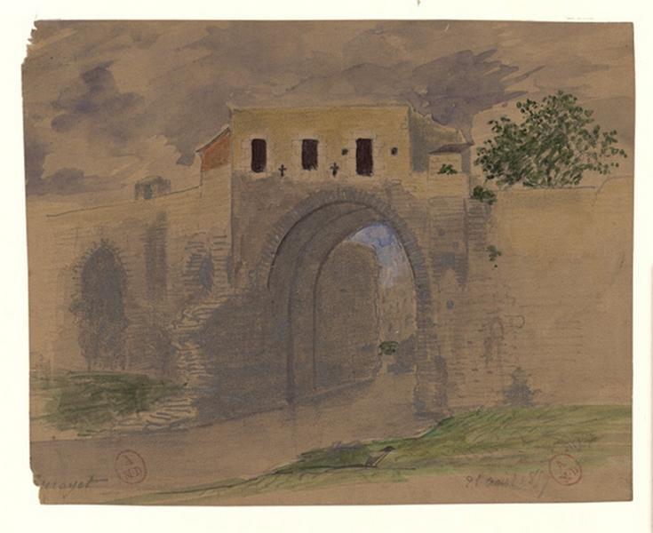 Arche du pont des Treilles côté rive droite vue depuis l'amont (Titre de C. Labalte)