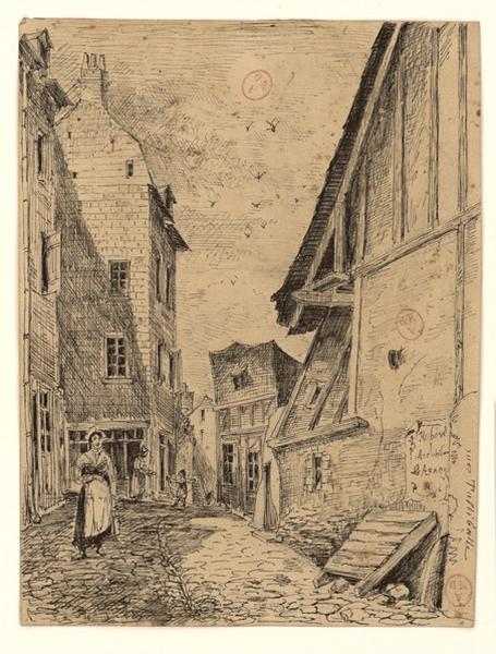 ROHARD Jules (dessinateur) : Rue Tuliballe et la montée Saint-Maurice, Angers