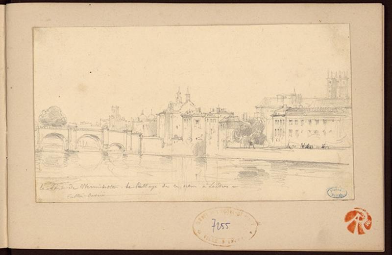 OUVRIE Pierre Justin (dessinateur) : Le pont de Wesminster de l'abbaye de ce nom à Londres (Londres)