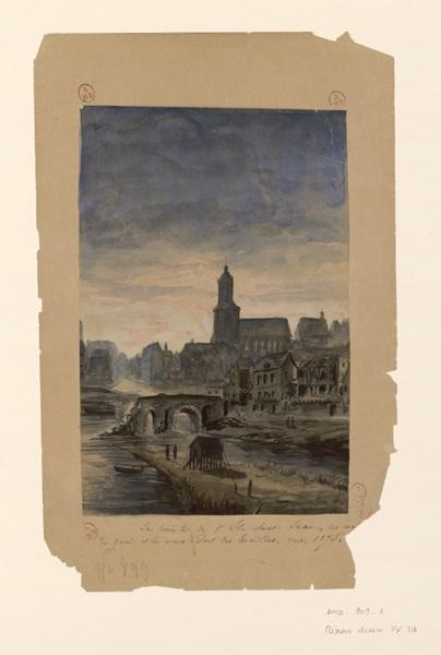 anonyme (dessinateur) : La pointe de l'île Saint-Jean, les maisons du quai et le vieux pont des Treilles vers 1875