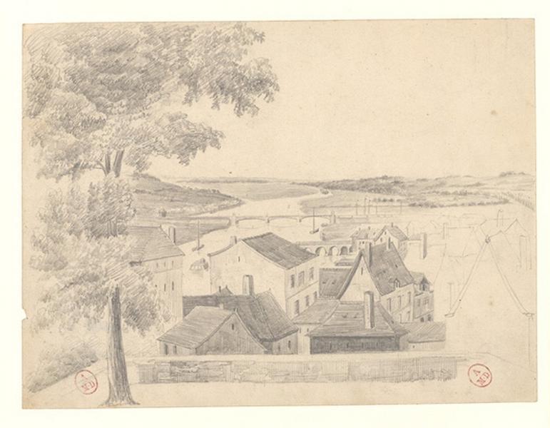 MICHEL Auguste Père (dessinateur) : Vue d'Angers depuis la Cité (Titre factice)