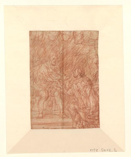 Charles V présentant un document à Hendrik van Halmale ; Personnage agenouillé devant un personnage assis (autre titre) ; Scène d'hommage à un prince  (autre titre) ; Charles Quint reçoit un hommage agenouillé (titre emprunté au cahier d'inventaire)_0
