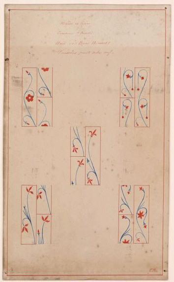 Peintures murales de la chapelle : relevés de cinq détails des voussoirs de la nef (Titre de M. Bardelot)