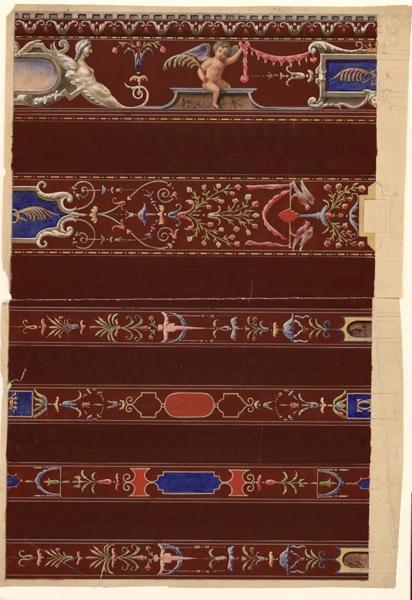 anonyme (dessinateur) : Château de Brissac : relevés de peintures des plafonds (Titre factice)