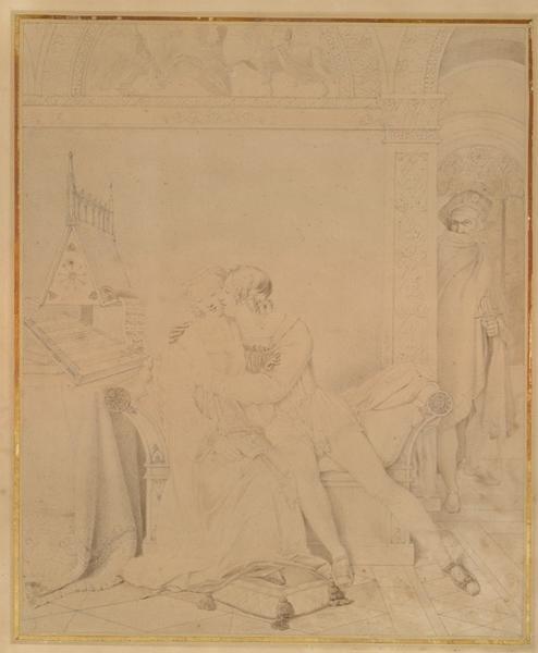 COUPIN DE LA COUPERIE Marie Philippe (dessinateur) : Les amours funestes de Paolo Malatesta et de Francesca de Rimini vers 1812