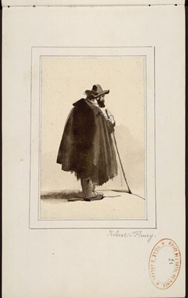 ROBERT-FLEURY Joseph Nicolas (dessinateur) : Pèlerin vue de dos, portant cape, bâton et chapeau