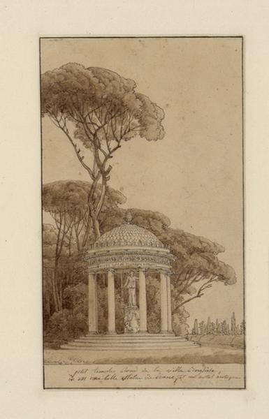 THIBAULT Jean Thomas (dessinateur) : Vue prise de la villa Borghèse (le petit temple rond de la villa Borghèse abritant une statue de Diane et un autel antique)