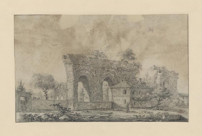 Ruines d'un aqueduc et d'un temple dans la campagne italienne ; Paysage. Ruines. Monuments (autre titre)_0