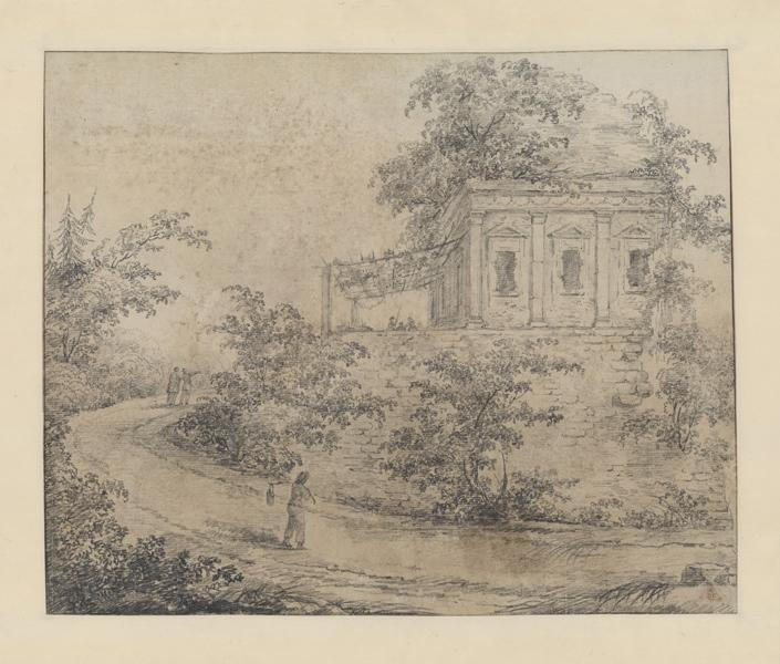 Petit édifice au bord d'un chemin ; Paysage. Ruines. Monuments (autre titre)_0