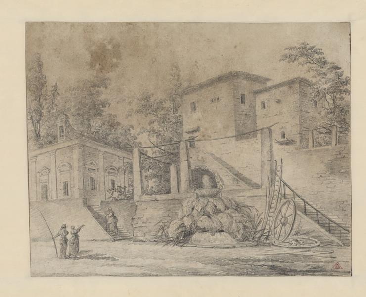 Edifices dans la campagne italienne ; Paysage. Ruines. Monuments (autre titre) ; Villa et personnages (autre titre)