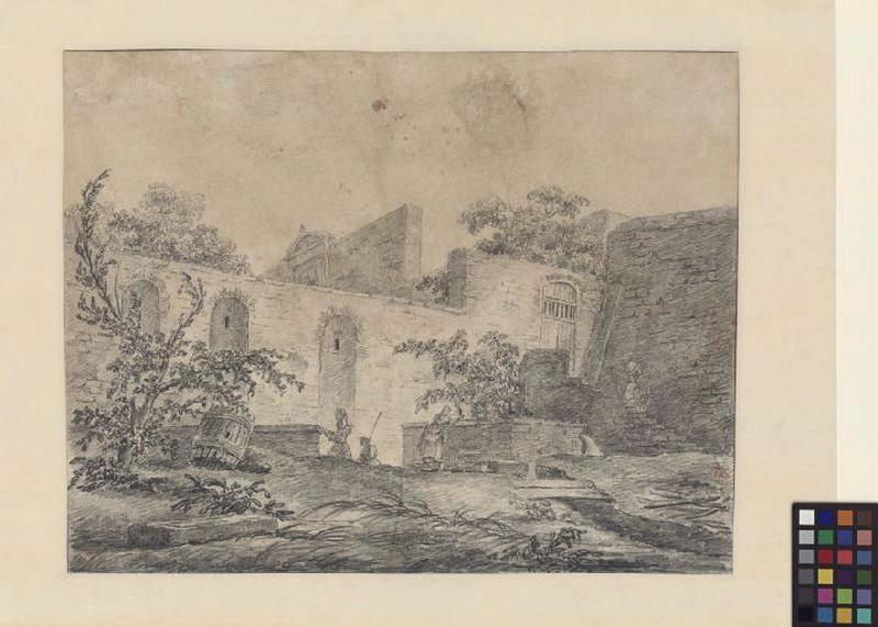 Personnages devant l'enceinte d'une villa ; Paysage. Ruines. Monuments (autre titre) ; Femme près d'une fontaine devant un mur (Italie) (autre titre)