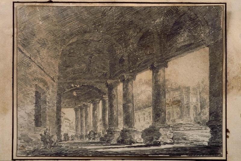 Colonnade à Rome ; Paysage. Ruines. Monuments ; Galerie dans une ville italienne_0