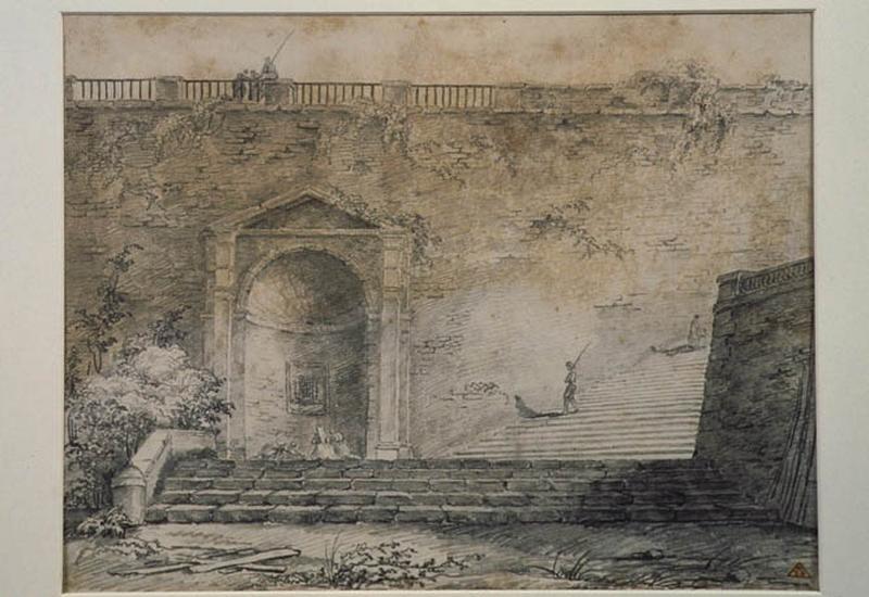 Fontaine dans une niche au bas d'un escalier ; Paysage. Ruines. Monuments_0