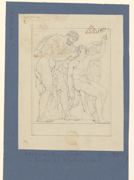 anonyme, GIRODET DE ROUCY-TRIOSON Anne Louis (dessinateur) : Copie d'après un bas-relief, Icare et Dédale, Un homme lie les ailes de l'amour (ancien titre erroné)
