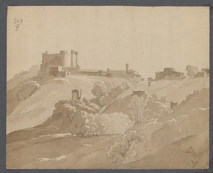 Un château fort (un château fort et d'autres constructions couronnent une éminence)_0