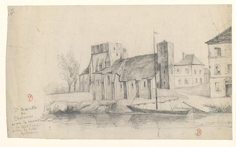 GUILLAUME (d'après, dessinateur), anonyme (dessinateur) : Eglise Saint-Maurille de Chalonnes
