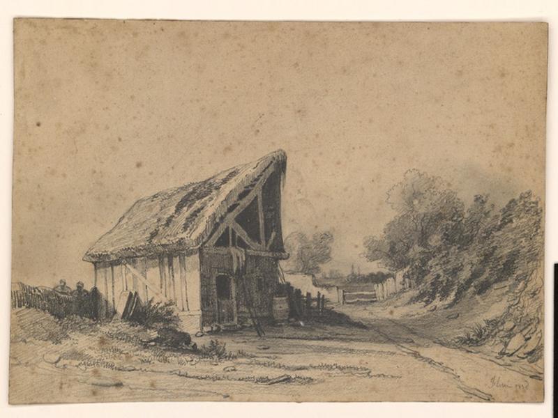 Paysage (inventaire) ; Grange près d'un chemin (autre titre) ; Une barque sur un étang avec fond d'arbres (autre titre)