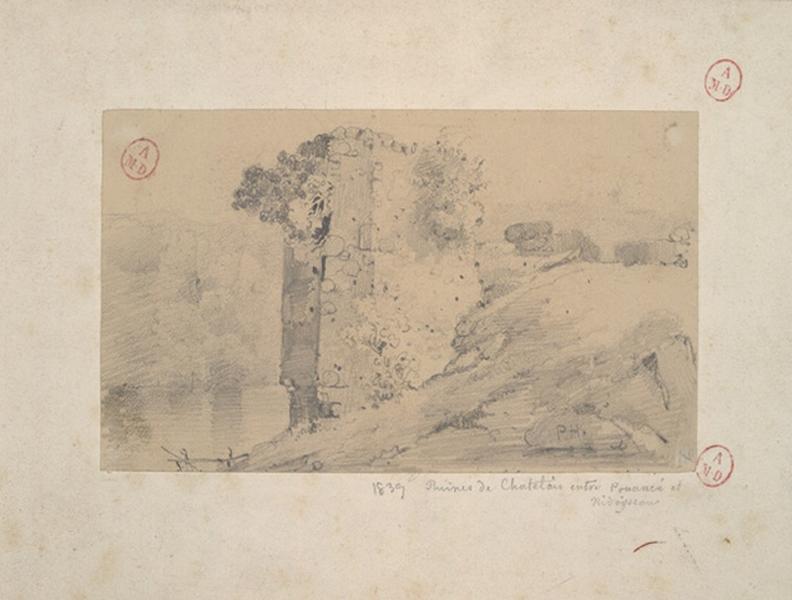 HAWKE Peter (dessinateur) : Ruines à Chatelais (Titre factice)