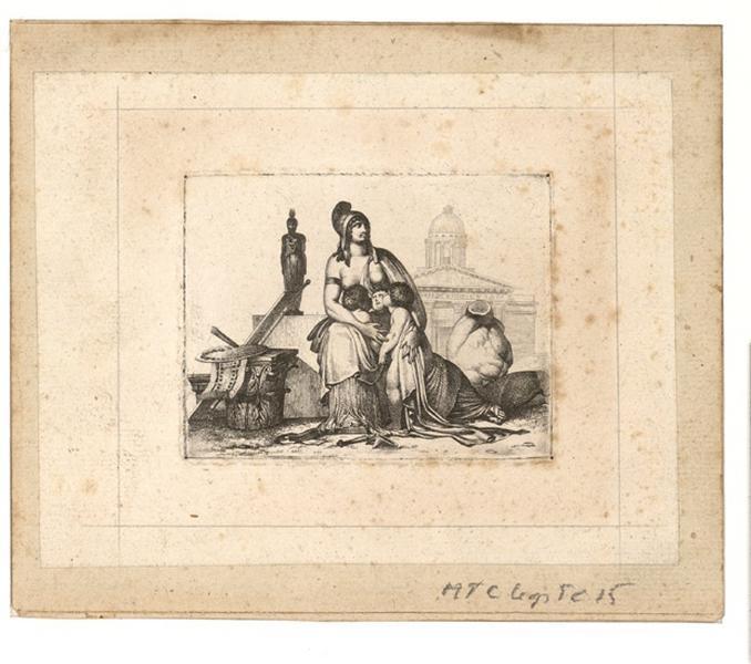 LANCRENON Joseph Ferdinand (graveur, dessinateur) : La mère nourricière (gravure recto et verso), La Nation nourricière (titre de Recouvreur)