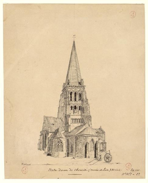 MAYET S (dessinateur), HAWKE Peter (d'après, dessinateur) : Eglise Notre-Dame de Chemillé