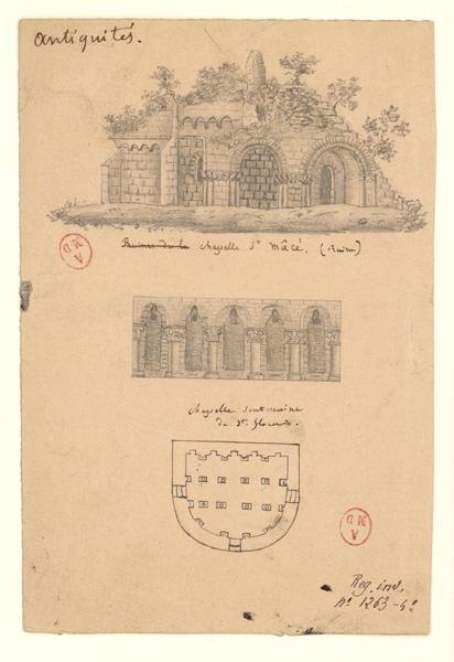 anonyme (dessinateur) : Ruines de Saint-Macé, Chapelle souterraine de Saint-Florent