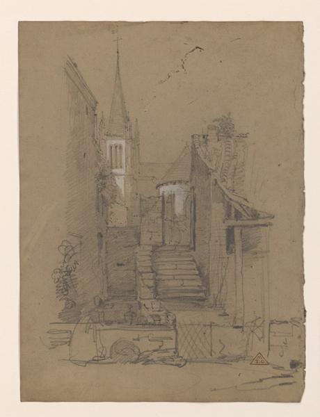 Une cour près d'une église avec escalier